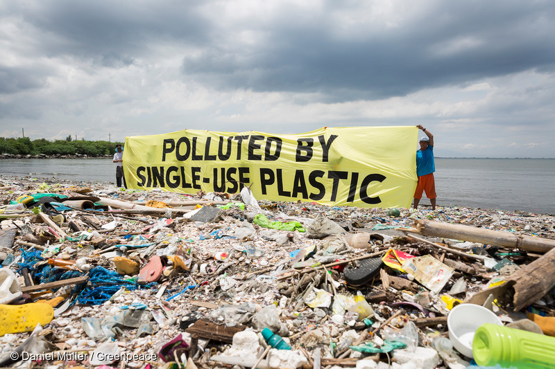 "Greenpeace together with the #breakfreefromplastic coalition conduct a beach cleanup activity and brand audit on Freedom Island, Parañaque City, Metro Manila, Philippines. The activity aims to name the brands most responsible for the plastic pollution happening in our oceans. A banner reads ""Polluted by Single-use Plastic"". credit: Greenpeace"