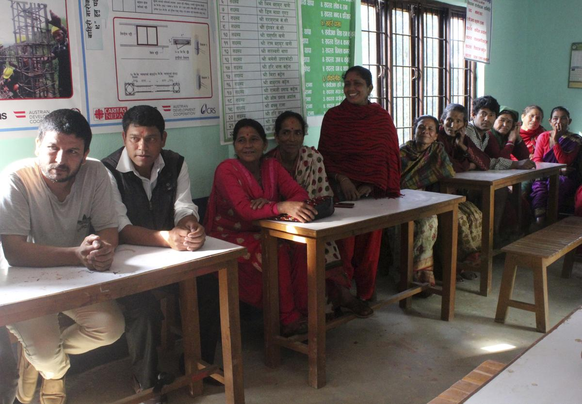 Dalits at a community meeting for a forest protection project in Ludikhola, Nepal