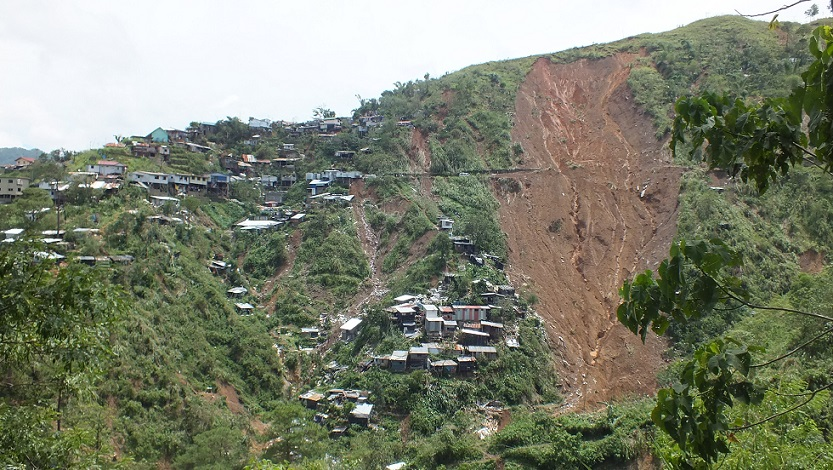 The eroded mountain which buried dozens at the Ucab mine site. Photo by Maria Elena Catajan.