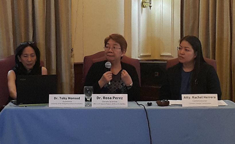 All women panel discusses the global impact of climate change. From left, UP Professor Toby Monsod, author and climate change expert Rosa Perez, Commissioner Rachel Anne Herrera of the Climate Change Commission.