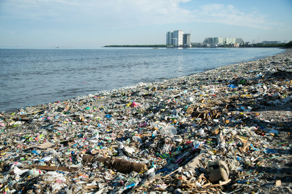 Plastic Waste on Freedom Island in Manila Bay