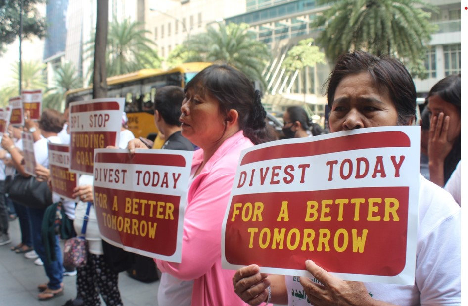 Community representatives protest outside of the BPI head office, calling for divestment from coal. credit John Leo Algo
